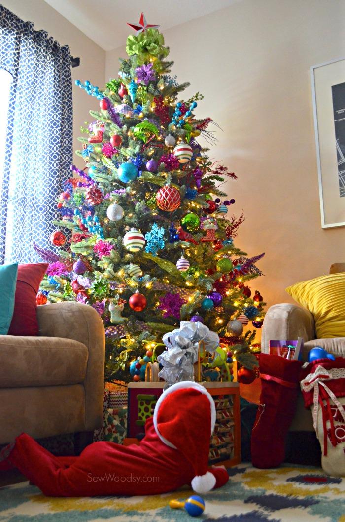 Colorful Christmas Tree and Baby
