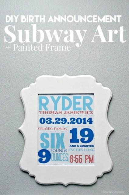 DIY Birth Announcement Subway Art + Painted Frame