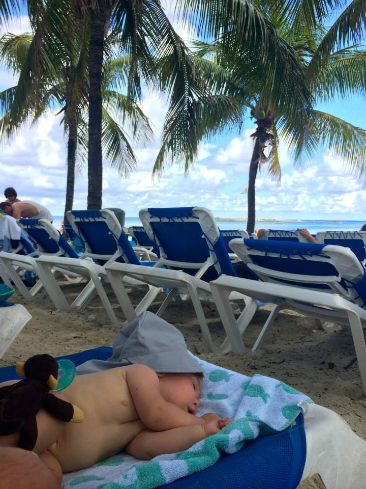 Cruising with an Infant sleeping in cooc cay