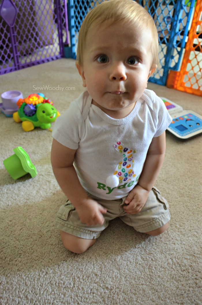 DIY Easter Bunny Onesie with Name