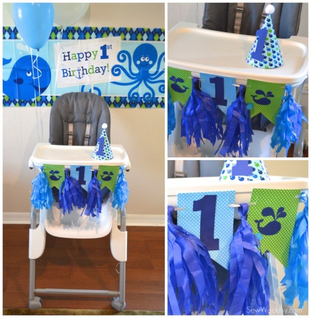 1st Birthday highchair decor