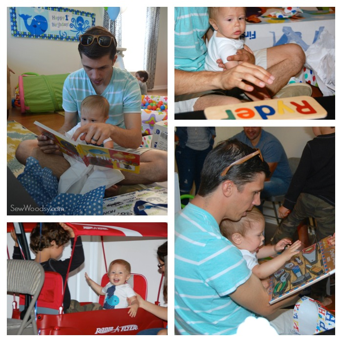 1st birthday party opening gifts
