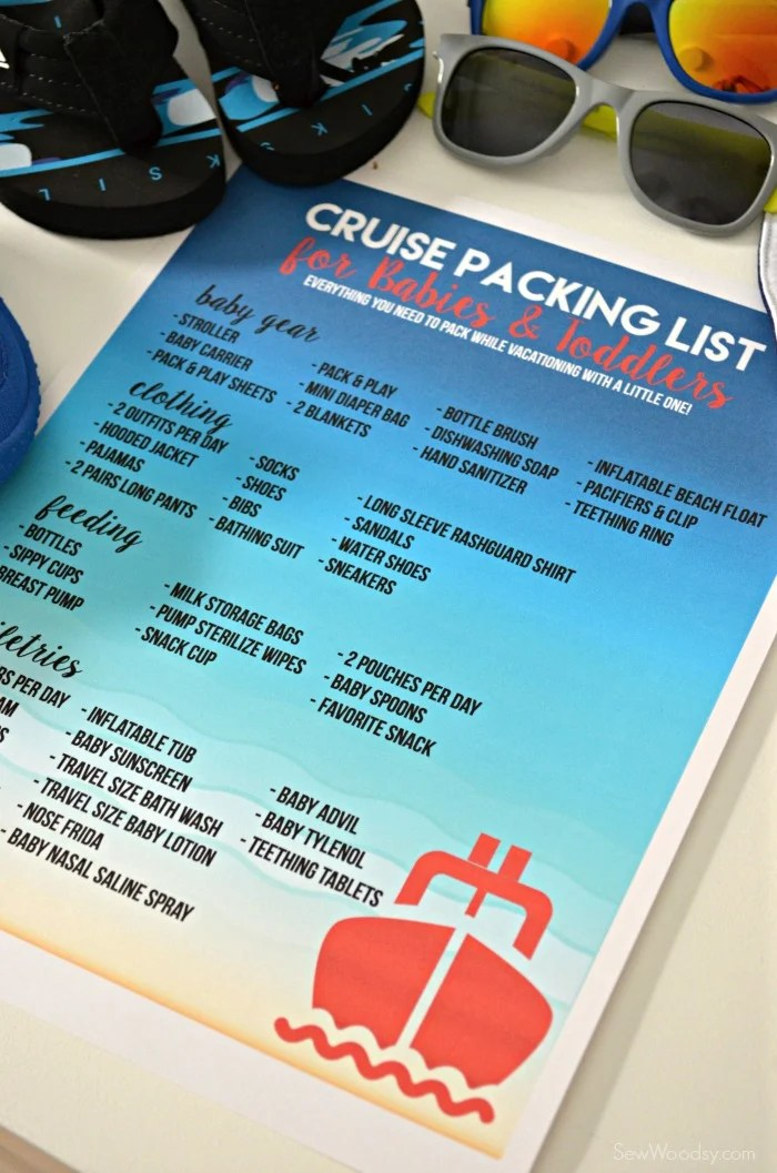cruising packing list for babies and toddlers