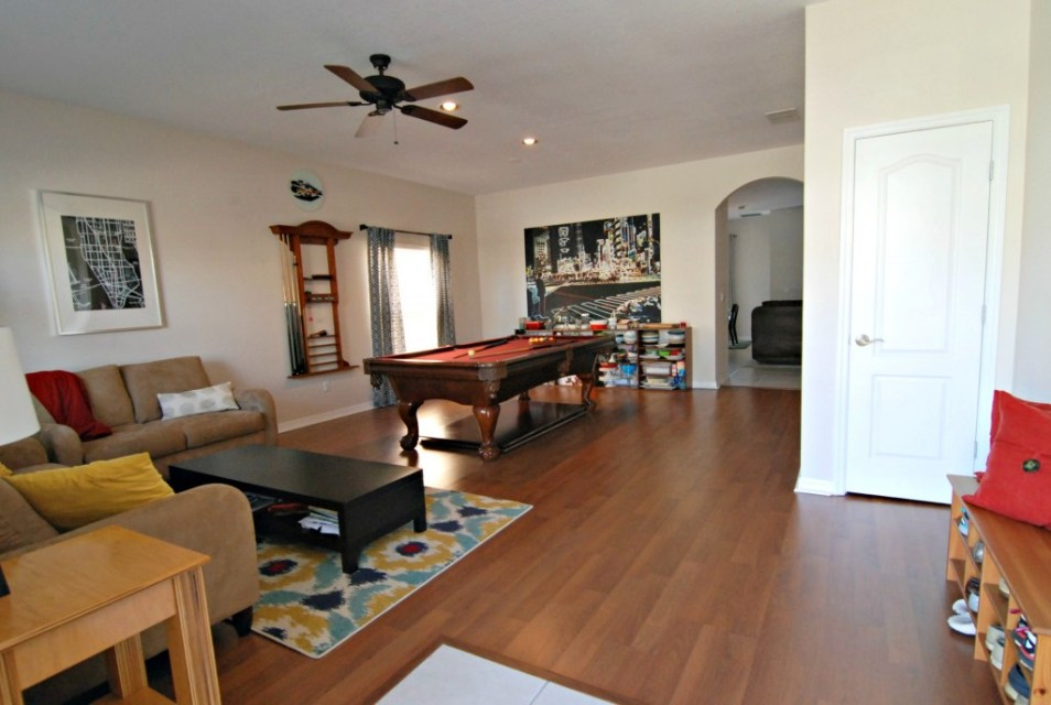 front room with pool table