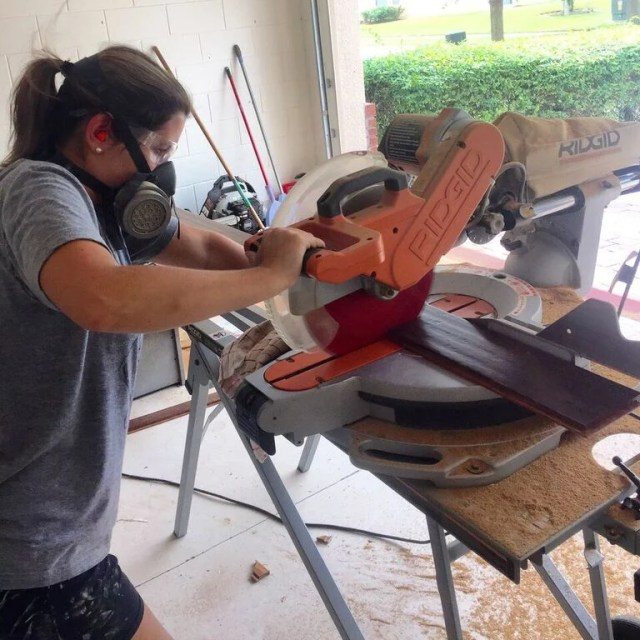 cutting on the miter saw