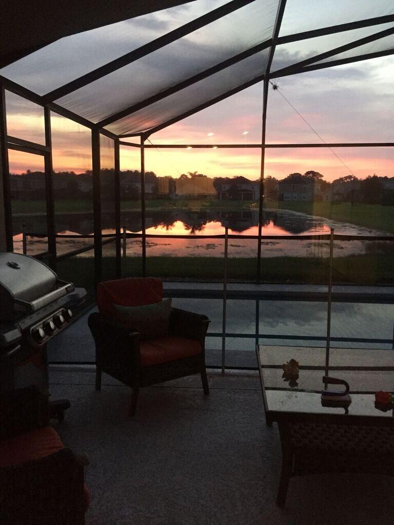 sunrise at a florida pool home