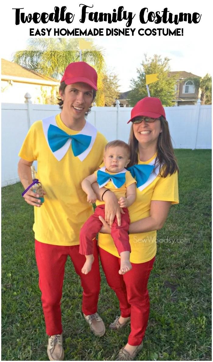 Easy Tweedle Family Costume tweedledee and tweedledum standing in a yard.