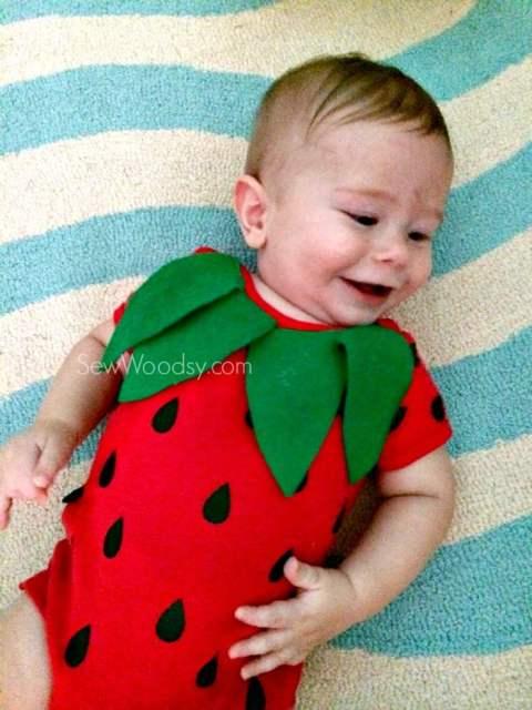 DIY Infant Strawberry Costume