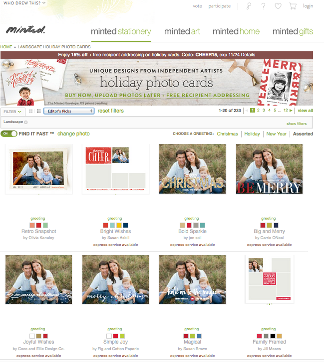 Custom Minted Holiday Cards
