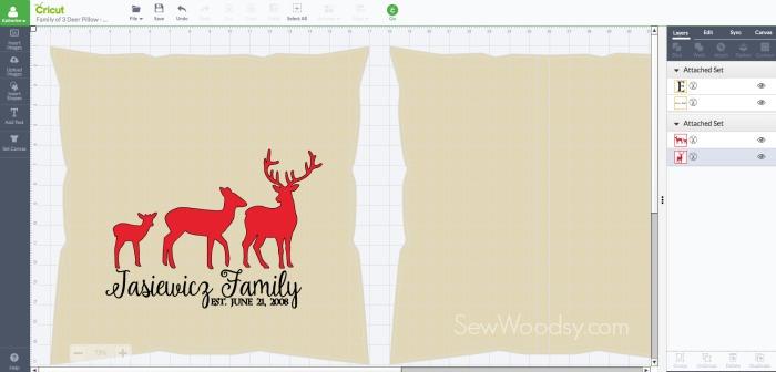DIY Deer Family Pillow Cover Cricut Design Space Screen Shot