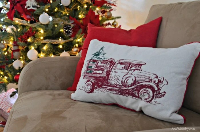 Vintage Truck Christmas Pillow