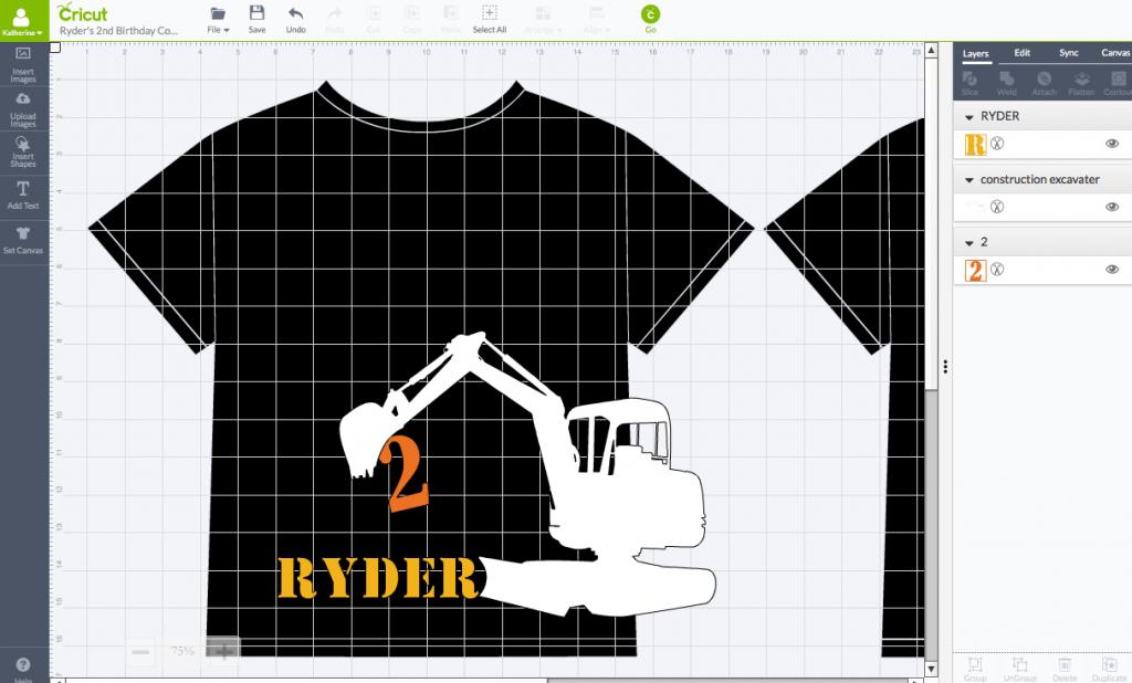 2nd Birthday Construction Shirt - Cricut Design Space Screen Shot