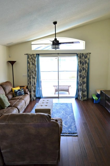 Family Room with New Fan from Lamps Plus