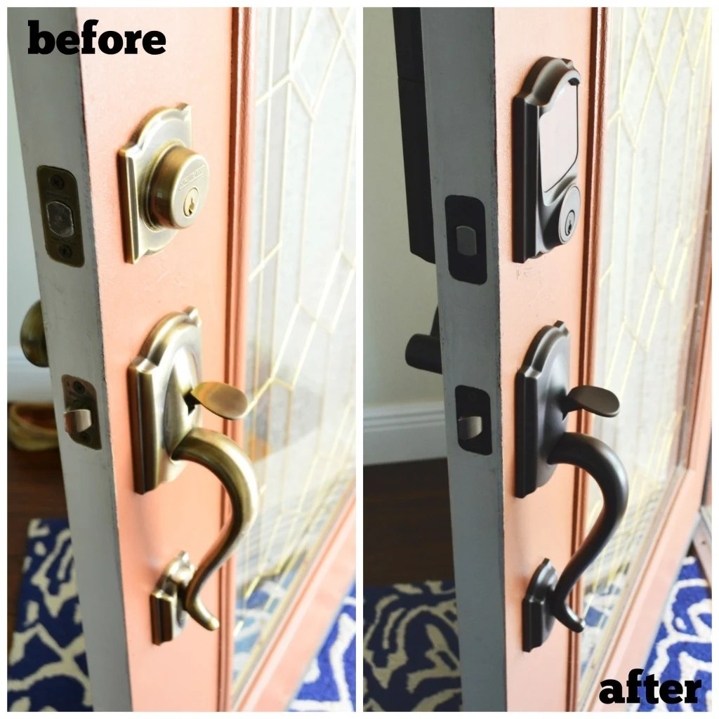 Before and After Front Door Locks from Schlage