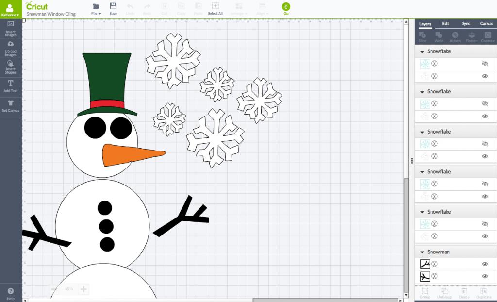 DIY Toddler-Friendly Snowman Window Clings Cricut Design Space Screen Shot