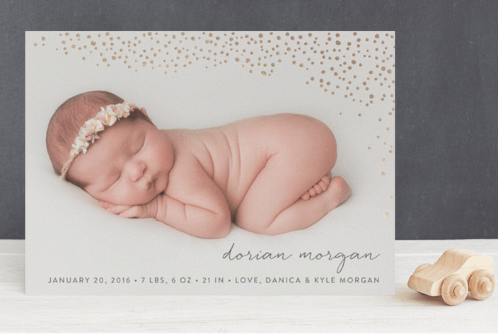 Golden Dots Foil-Pressed Birth Announcements