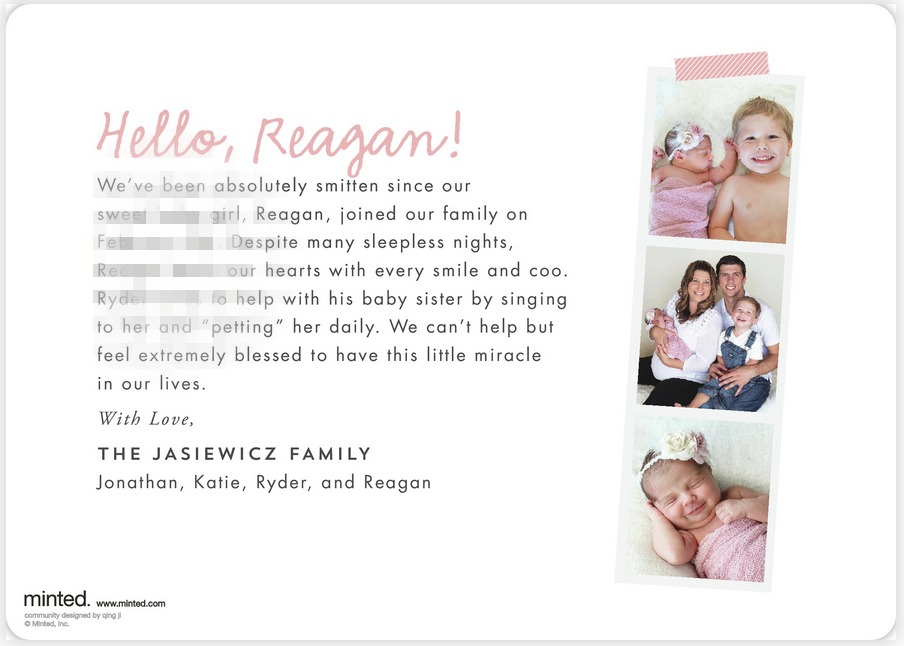 Minted Birth Announcement Back