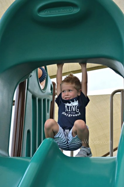 DIY King of the Playground - playing on the slide