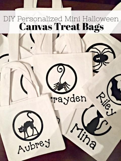 DIY Personalized Mini Halloween Canvas Treat Bags