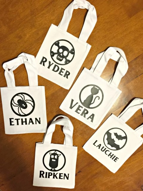 DIY Personalizez Halloween Canvas Treat Bags for Toddlers