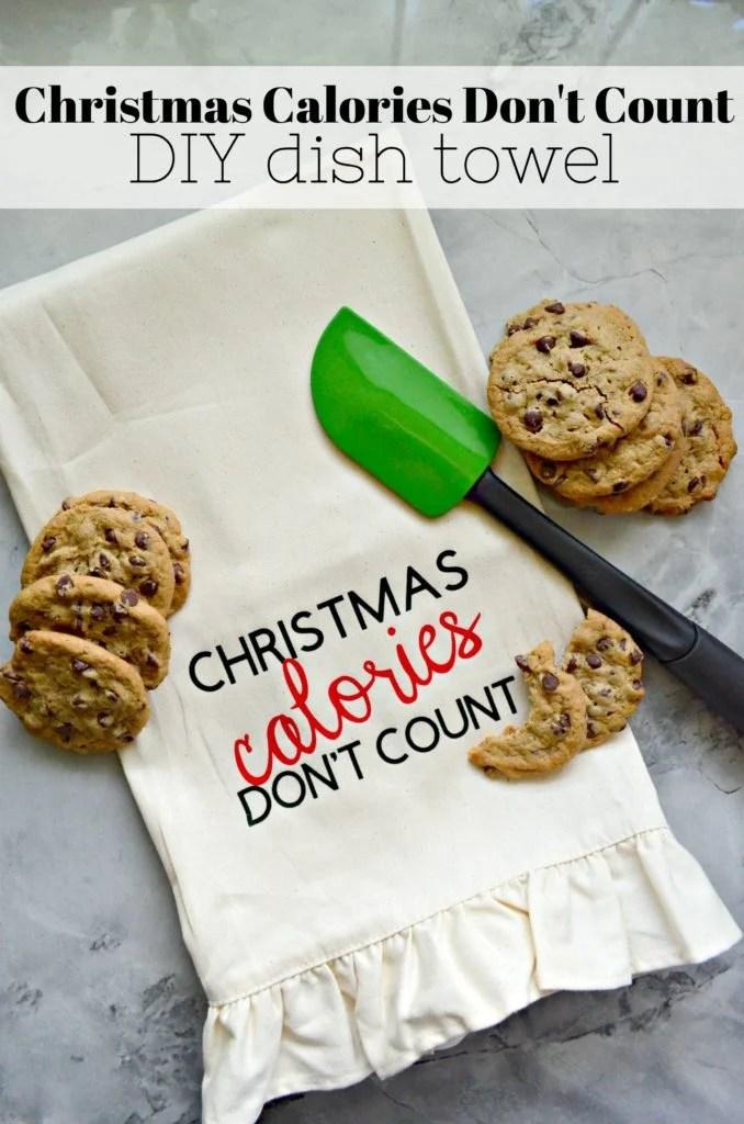 Christmas Calories Don't Count Dish Towel