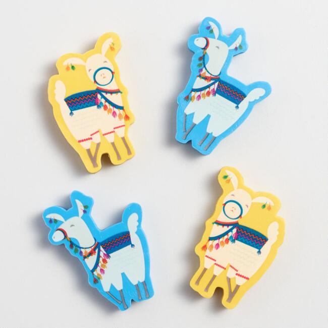Die Cut Llama Erasers Set Of 4