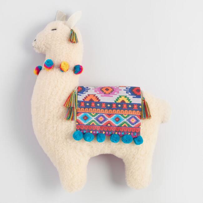 Folkloric Llama Shaped Throw Pillow