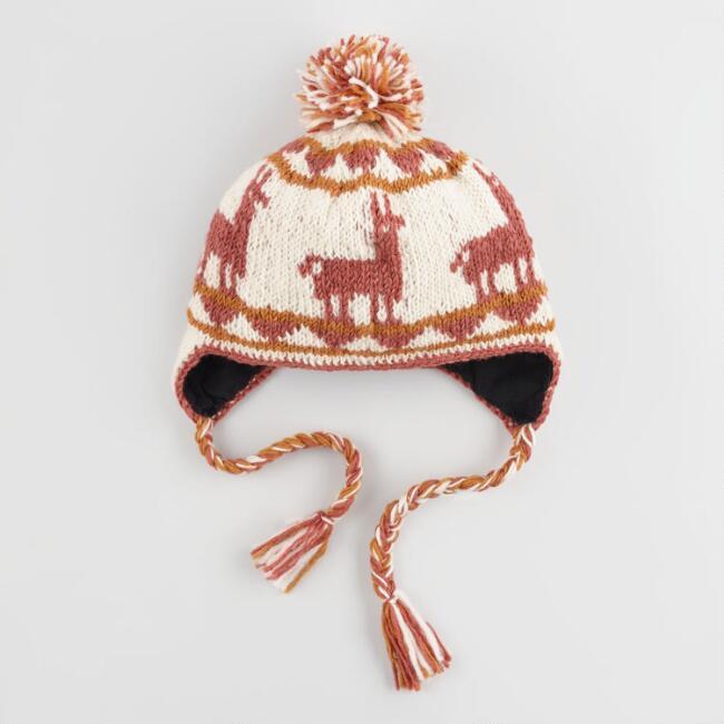 Ivory, Brown And Blush Wool Llama Trapper Pom Hat