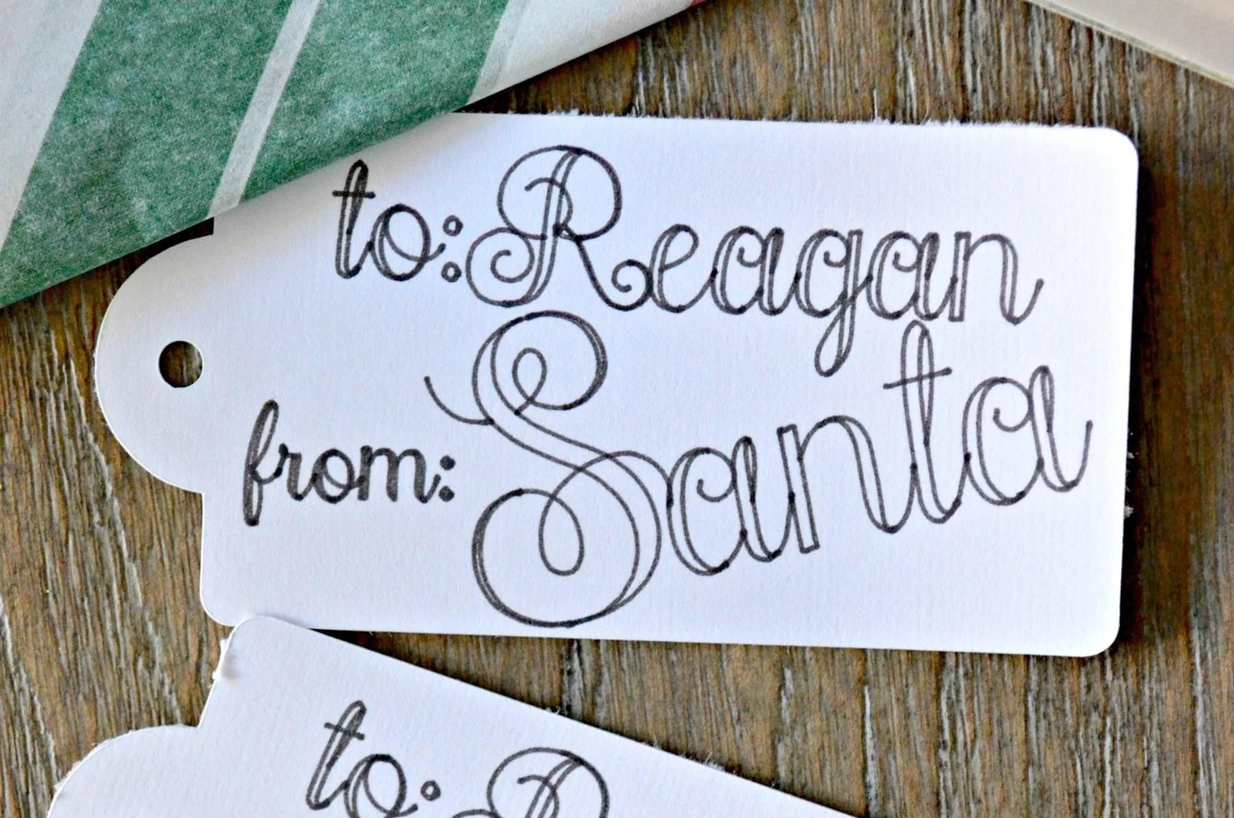 DIY Handwritten Santa Gift Tags for Christmas
