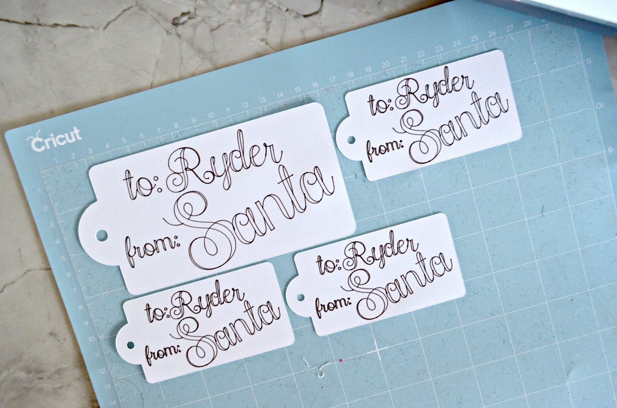 DIY Handwritten Santa Gift Tags on Cricut Mat