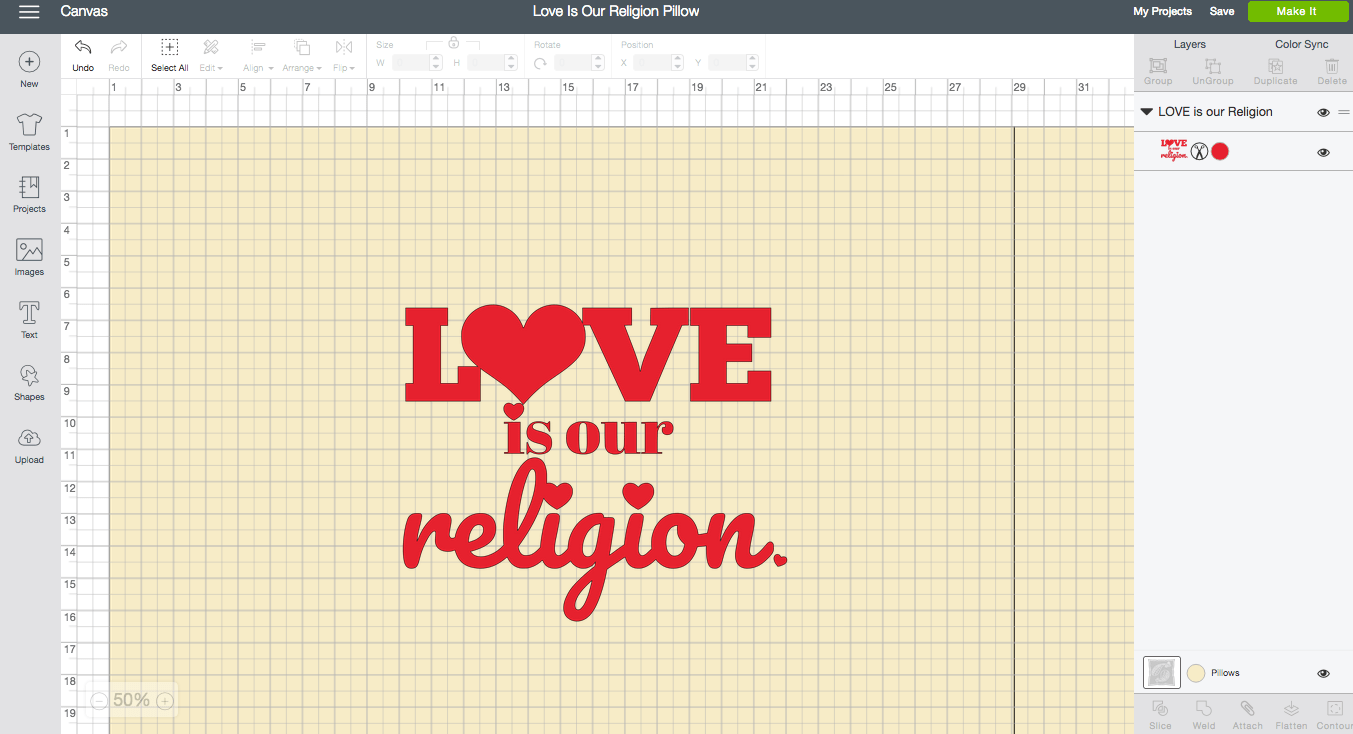 Love is our Religion Cricut Design Space Screen Shot