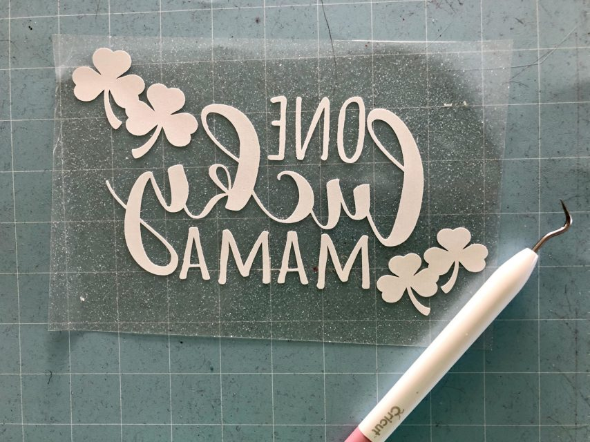 DIY One Lucky Mama Iron-On Weeded