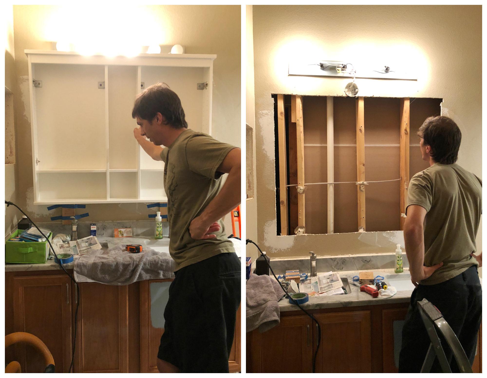 Installing Large Medicine Cabinet Vanity
