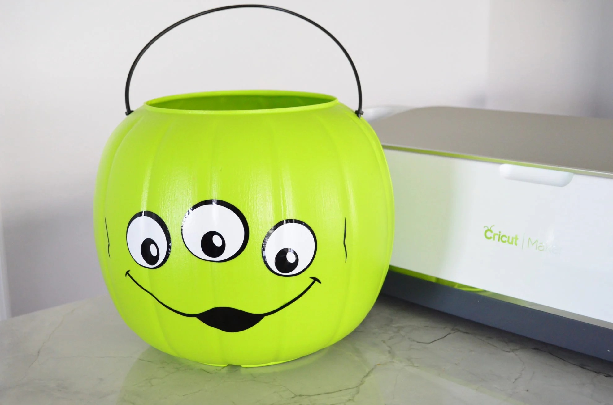 Toy Story Alien Halloween Trick Or Treat Bucket with Cricut Maker