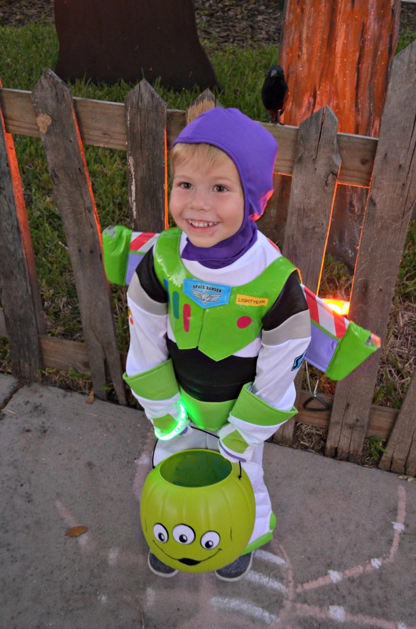 Buzz Lightyear Costume with Alien Trick or Treat Bucket