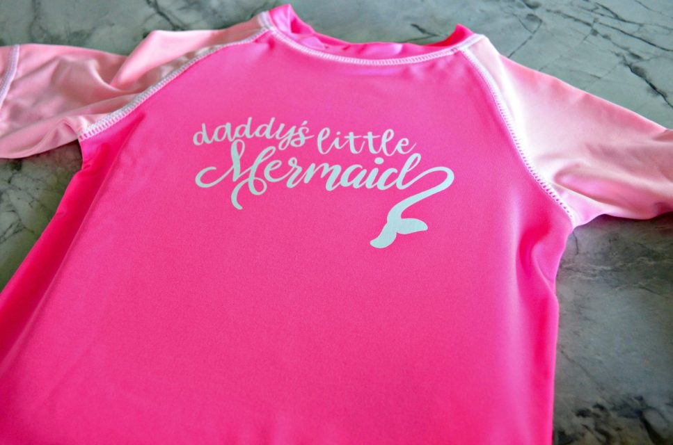 DIY Daddy's Little Mermaid Rash Guard Made with Cricut Maker and StrongBond Iron-On Vinyl