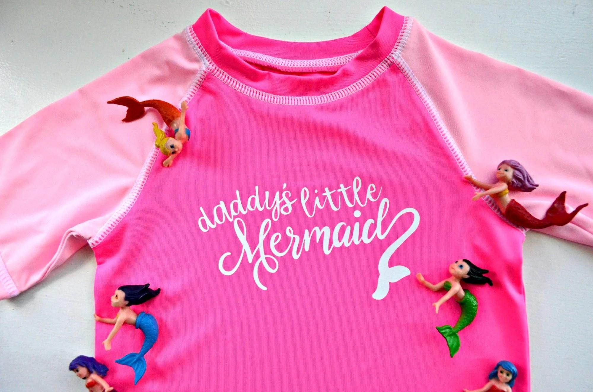 DIY Daddy's Little Mermaid Rash Guard Made with the Cricut Maker