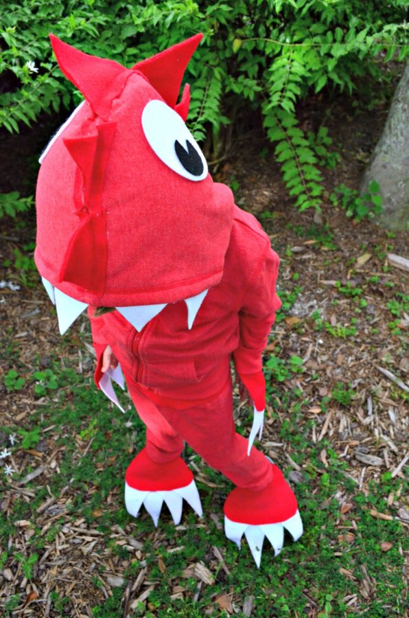No Sew Dinosaur Costume with Hood