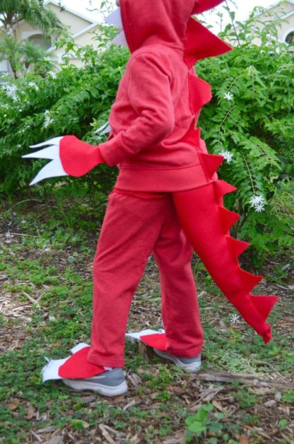 No Sew Dinosaur Costume with claws and tail