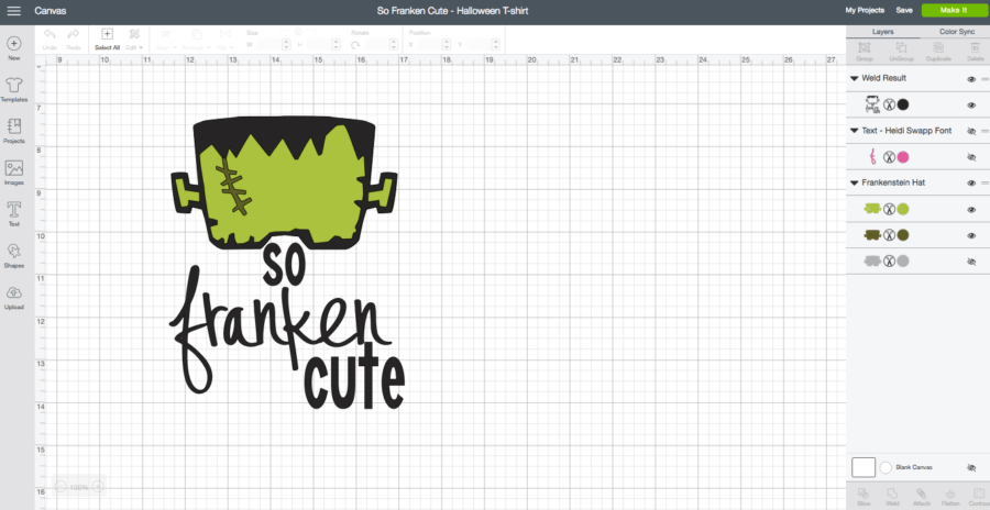 So Franken Cute - DIY Halloween T-Shirt Cricut Design Space Screen Shot