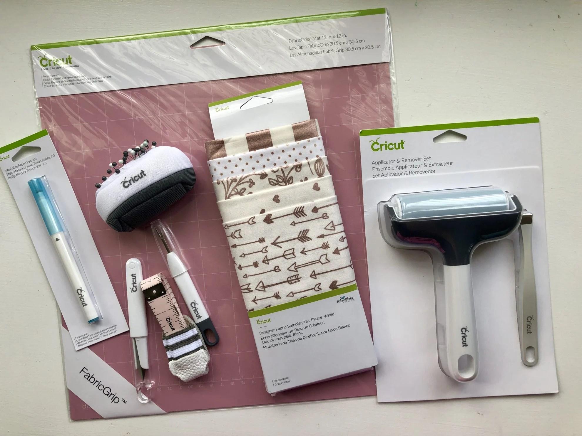 Cricut Sewing Accessories; FabricGrip Mat, brayer, fabric, pin cushion, etc