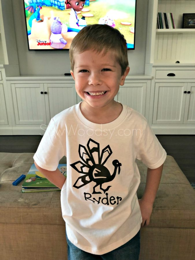 DIY Personalized Thanksgiving Turkey Shirt for Boy