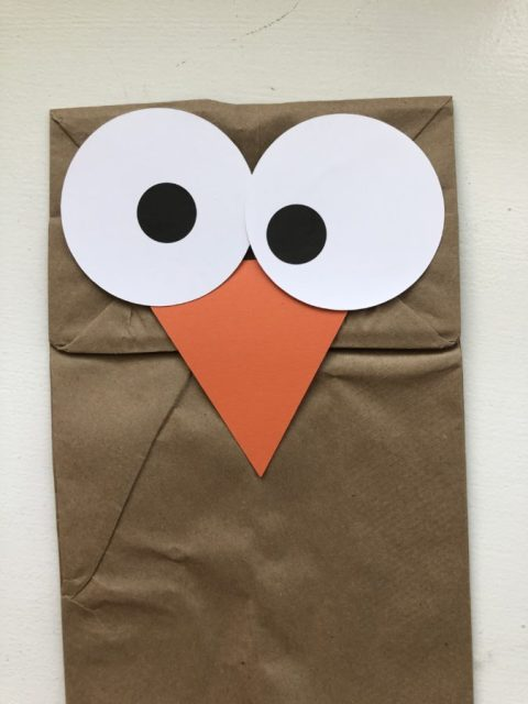 Turkey Paper Bag Puppets Step 2 the eyes