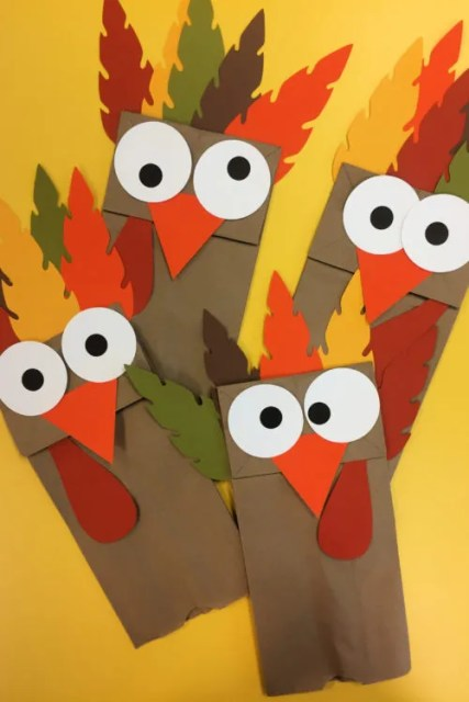 Turkey Paper Bag Puppets Thanksgiving Activity