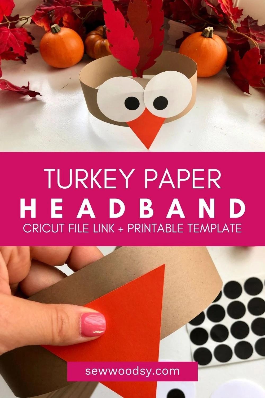 Two photos; top of finished turkey headband, bottom of creating the headband.