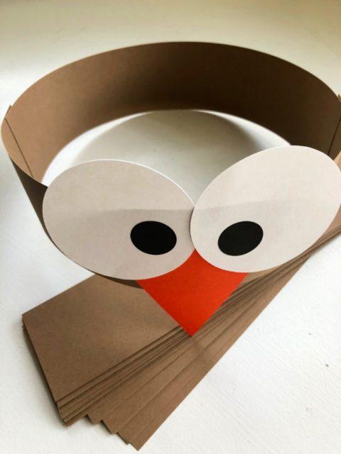 Turkey Paper Headbands - Eyes and Beak Attached