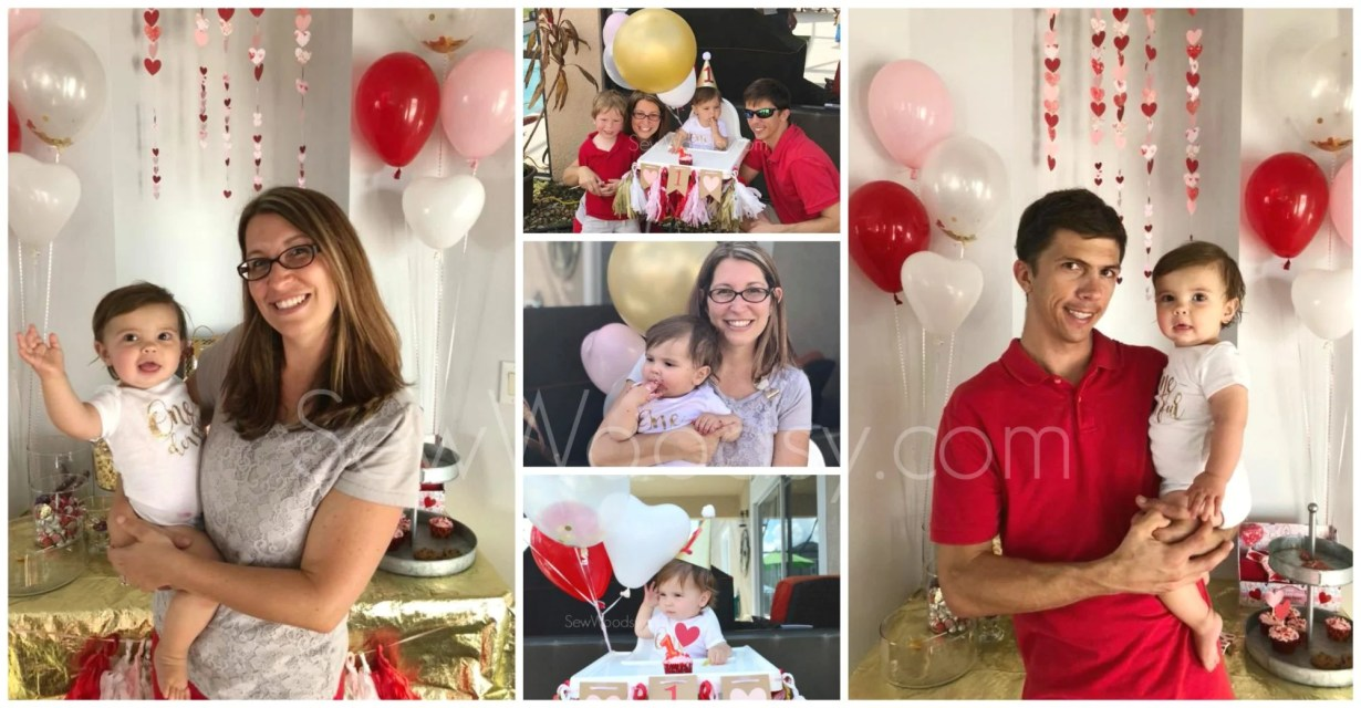 Valentine Themed Balloons for 1st Birthday Party