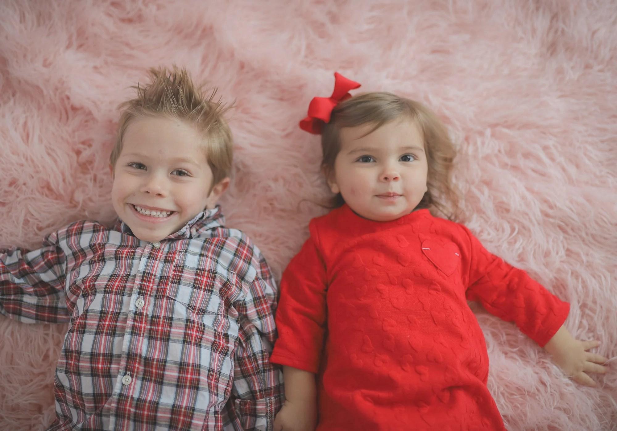 Valentines Day Siblings Fur Carpet Photo