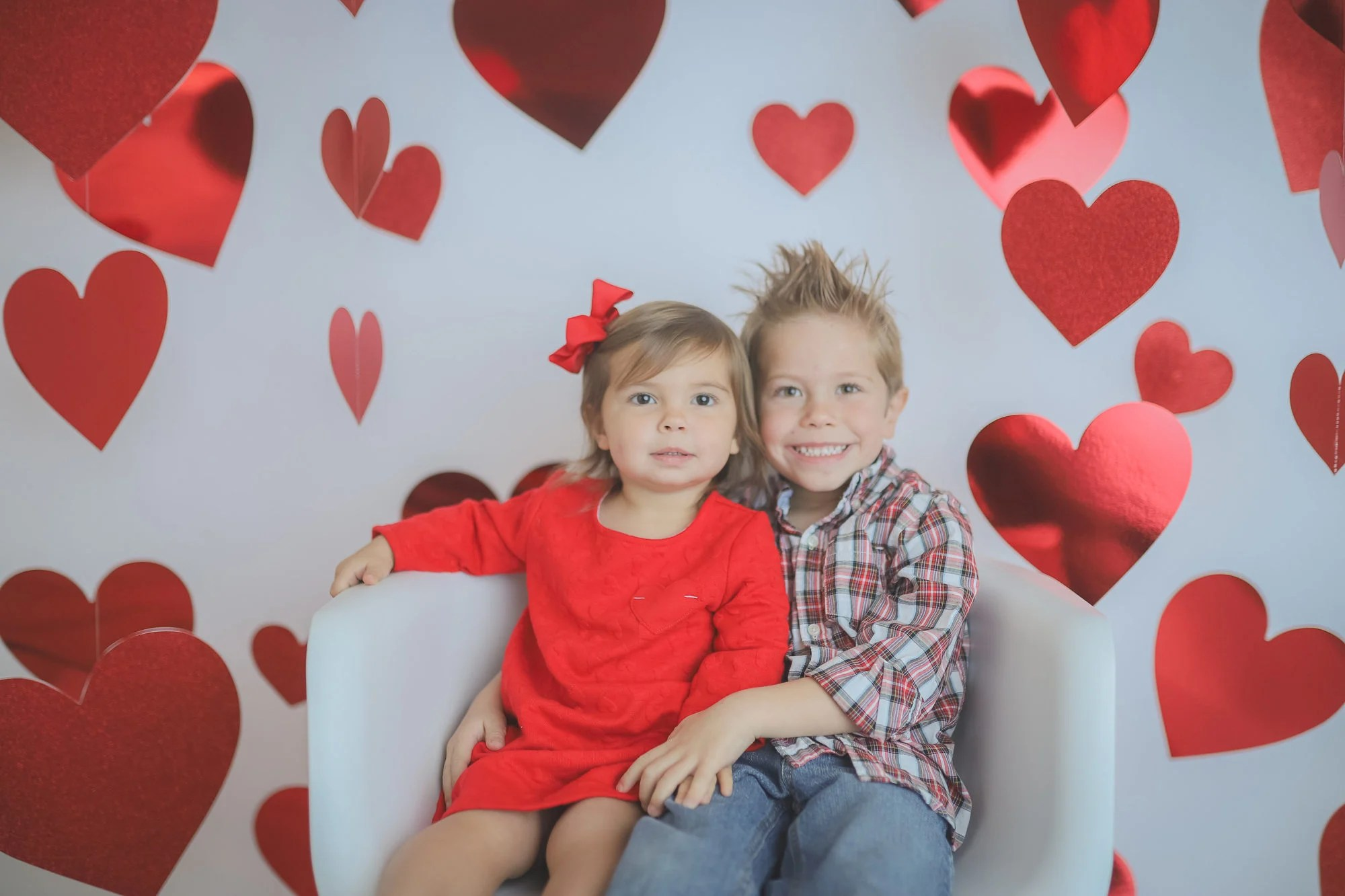 Valentines Sibling Heart Photo