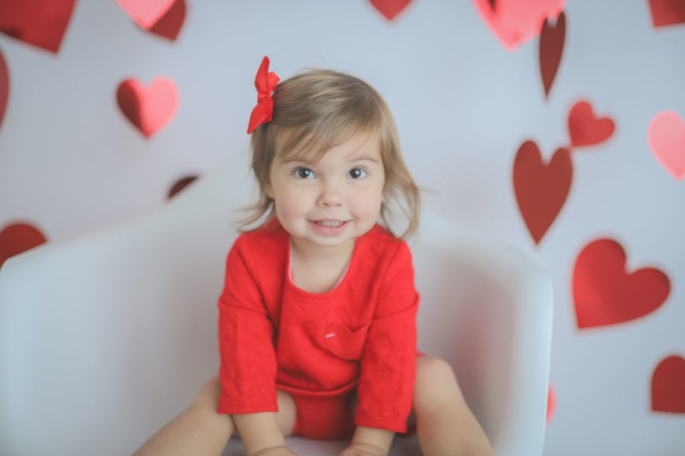Valentines Toddler Girl Heart Photo
